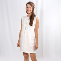 White Linen Short Dress - Natural linen dress, summer dress at Blisby