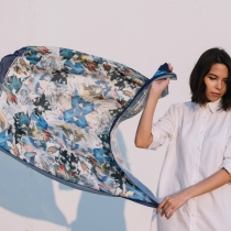 Bird of Paradise: Printed Silk Satin Scarf at Blisby
