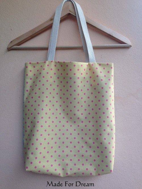 MFD two-tone pastel tote bag *Handmade* สีฟ้าเหลือง large image 0 by MadeForDream
