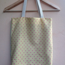MFD two-tone pastel tote bag *Handmade* สีฟ้าเหลือง at Blisby