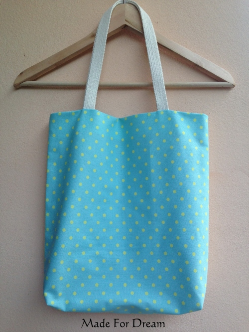 MFD two-tone pastel tote bag *Handmade* สีฟ้าเหลือง large image 1 by MadeForDream