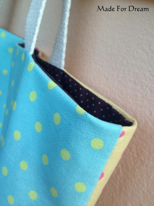 MFD two-tone pastel tote bag *Handmade* สีฟ้าเหลือง large image 2 by MadeForDream