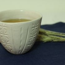 Ceramics Tea cup, White Carving at Blisby