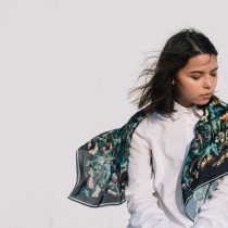 Butterfly: Printed Silk Satin Scarf at Blisby