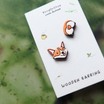Wooden Earring Welsh Corgi at Blisby