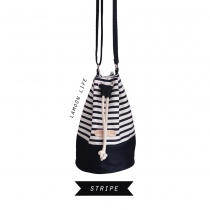 STRIPE TWO-TONE BUCKET BAG at Blisby