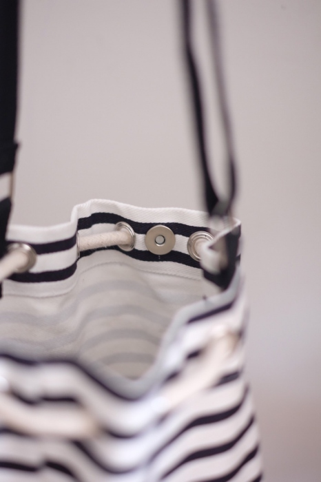 STRIPE TWO-TONE BUCKET BAG large image 1 by lamoonlife