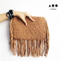 FRINGE CLUTCH (BROWN) at Blisby