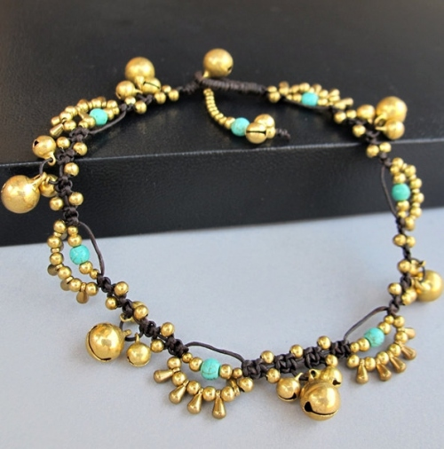 Bohemian Little Brass Water drop Turquoise Chic Anklet large image 0 by BohobyChomphoo