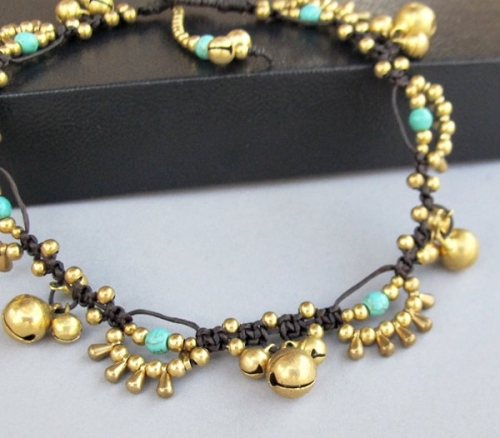 Bohemian Little Brass Water drop Turquoise Chic Anklet large image 1 by BohobyChomphoo