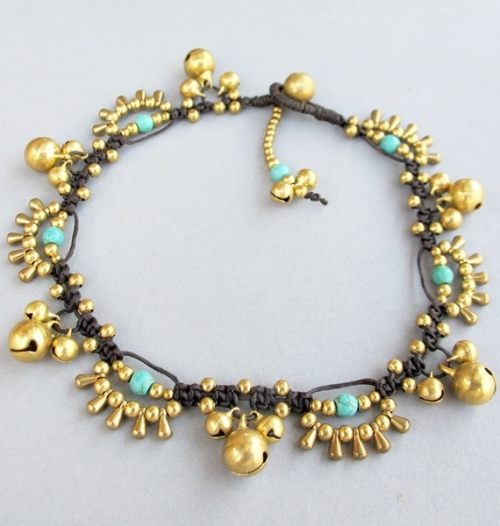 Bohemian Little Brass Water drop Turquoise Chic Anklet large image 2 by BohobyChomphoo