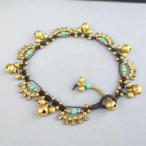 Bohemian Little Brass Water drop Turquoise Chic Anklet large image 3 by BohobyChomphoo