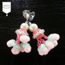 Fluffy Pastel Pom Pom Earring at Blisby