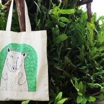 """Smile and Bear it"" Canvas tote at Blisby"