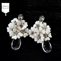 White Flower Drop Earring at Blisby