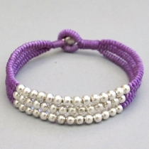Silever Color Beaded Knotted Wax Cord Bracelet in Purple at Blisby