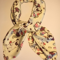 Cute pug scarf (Silk satin) at Blisby