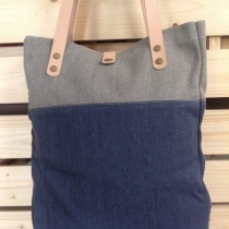 2-tone Cotton Canvas Tote Bag : Grey/Dark Blue at Blisby