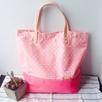 Pink polka dot tote at Blisby