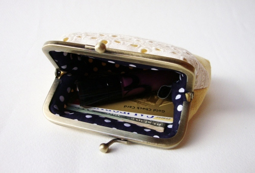 Lace Card Holder กระเป๋าใส่นามบัตร สีเหลือง large image 1 by TunyTinyTreats