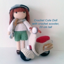 Crochet Sweet Doll with crochet scooter, 20 cm tall, crochet gift at Blisby