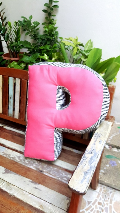 Pillow, Alphabet Letter Pillow, Single Letter Fabric Cushion - P large image 3 by SewingDuckDuck