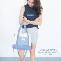 Sky Blue Stripe Crossbody Totebag