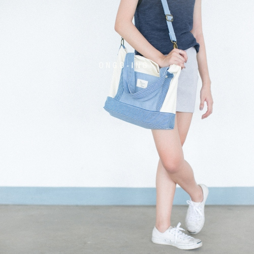 Sky Blue Stripe Crossbody Totebag large image 2 by Ongoingtote