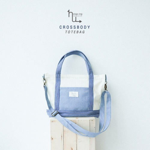 Sky Blue Stripe Crossbody Totebag large image 3 by Ongoingtote