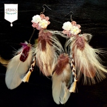 Brown Feather Earrings at Blisby